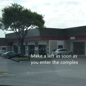 Make a left after you enter the complex