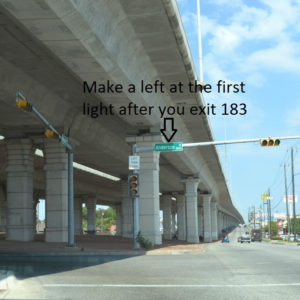 Make the first left after you exit 183