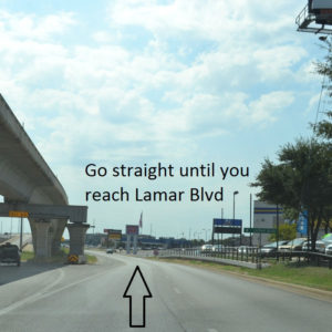 Go straight until you reach Lamar